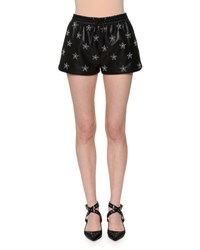 Valentino Star Studded Leather Shorts Black