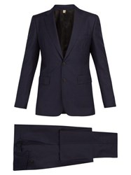 Burberry Soho Single Breasted Wool Blend Suit Navy