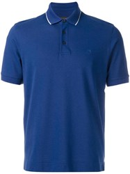 Z Zegna Logo Patch Polo Shirt Blue