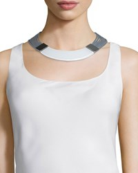 Large Metal Collar Necklace Women's Clear White Lafayette 148 New York