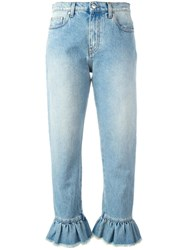 Msgm Frill Detail Cropped Jeans Blue
