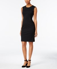 Tommy Hilfiger Flocked Houndstooth Sheath Dress Black Gray