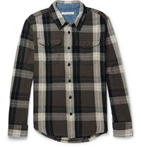 Outerknown Blanket Checked Organic Cotton Twill Shirt Gray