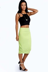 Boohoo Maddie Jersey Midi Length Tube Skirt Lime