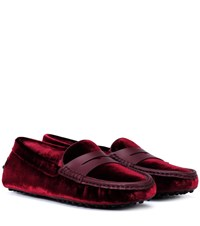 Tod's Exclusive To Mytheresa Gommino Velvet Loafers Red