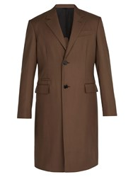 Berluti Single Breasted Cotton Blend Overcoat Brown