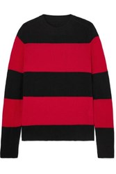 Re Done Striped Wool And Cashmere Blend Sweater Red