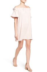 Pleione Women's Off The Shoulder Dress Pink Smoke