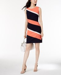 Connected Petite Colorblocked Sheath Dress Coral Navy