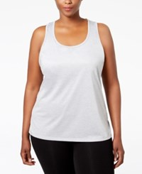 Ideology Plus Size Essential Racerback Performance Tank Top Only At Macy's Silver Ice