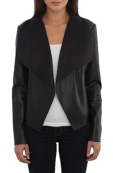 Bagatelle Drape Faux Leather And Faux Suede Jacket Black