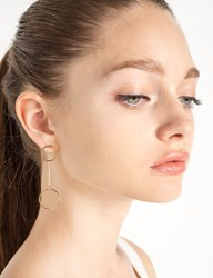 Pixie Market Double Circle Drop Bar Earrings