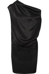 Lanvin One Shoulder Draped Chain Trimmed Satin Jersey Mini Dress Black