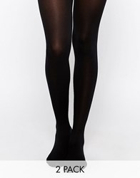 Pretty Polly 60 Denier Opaque Tights With Silk Finish 2 Pack Black