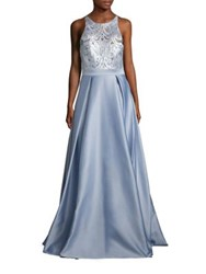 Badgley Mischka Embroidered A Line Gown Light Blue
