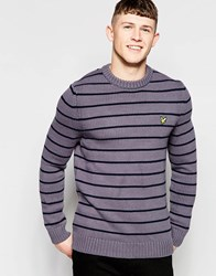 Lyle And Scott Crew Neck Stripe Chunky Knit Sweater Gray