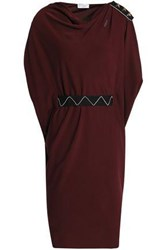 Vionnet Embellished Grosgrain Trimmed Silk Blend Crepe De Chine Dress Burgundy