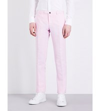 Slowear Slim Fit Tapered Linen Blend Chinos Pink
