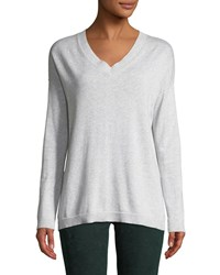 Lisa Todd Shine On Sequin Elbow V Neck Long Sleeve Cotton Sweater Plus Size Sea Salt