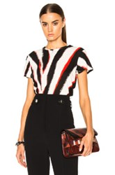 Proenza Schouler Printed Tissue Jersey Tee In Stripesd Black Red Abstract Stripesd Black Red Abstract