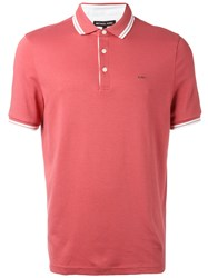 Michael Kors Contrast Hem Polo Top Red