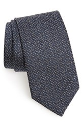 David Donahue Solid Silk And Cotton Tie Blue