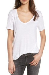 Women's Bp. Raw Edge V Neck Tee White