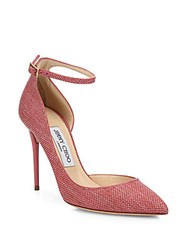 Jimmy Choo Lucy Suede Trim Raffia D'orsay Ankle Strap Pumps Pink