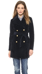 Band Of Outsiders Furry Leopard Classic Pea Coat Navy