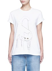 Stella Mccartney Dotted Cat Print Cotton T Shirt White