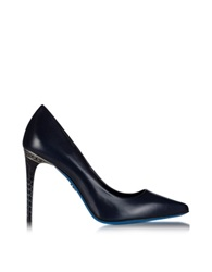 Loriblu Midnight Blue Leather Pointed Pump Dark Blue