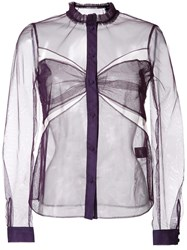Mary Katrantzou Cut Off Detailing Sheer Shirt Pink Purple