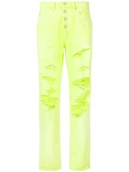 Amiri Distressed Slouch Jeans Yellow