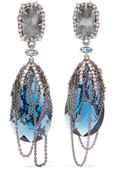 Alexis Bittar Gunmetal Plated Crystal And Stone Earrings One Size