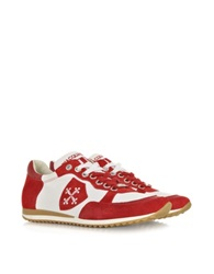 D'acquasparta Pisa White Leather And Red Suede Sneaker