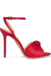 Charlotte Olympia Broadway Polka Dot Embroidered Satin Sandals It38