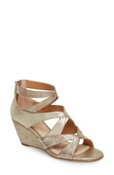 Isola 'S Filisha Wedge Sandal Satin Gold Leather