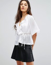 Club L Satin Tie Up Kimono Sleeve Top With Ruffle Detail Cream