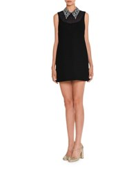 Miu Miu Georgette Dress W Beaded Collar Black Navy Navy Black