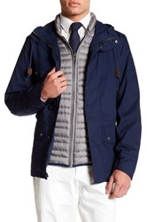 Brooks Brothers Layer Hooded Zip Up Jacket Blue