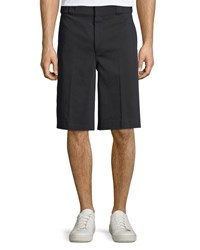 Alexander Wang Flat Front Twill Shorts With Washable Leather Detail Black