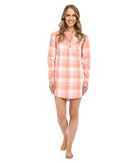 Life Is Good Love Who You Are Woven Night Shirt Tawny Peach Plaid Women's Pajama Pink