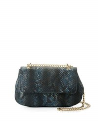 Neiman Marcus Snake Embossed Faux Leather Crossbody Bag Midnight S