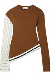 Monse Asymmetric Grosgrain Trimmed Pinstriped Satin Twill And Merino Wool Sweater Camel