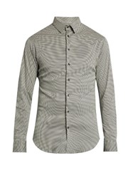 Giorgio Armani Mini Zigzag Print Cotton Jersey Shirt Grey Multi