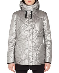 Akris Punto Metallic Circle Quilted Puffer Coat Silver
