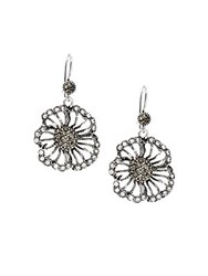 Azaara Vintage By Black Diamond Swarovski Crystal Silverplated Silver And Copper Single Flower Drop Earrings