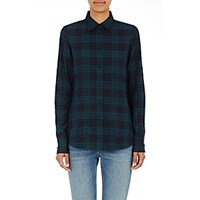 Harvey Faircloth Women's Side Zip Plaid Shirt Green