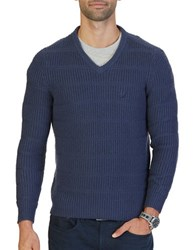 Nautica Knitted V Neck Sweater Mood Indigo