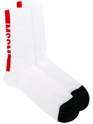 Msgm Logo Socks White